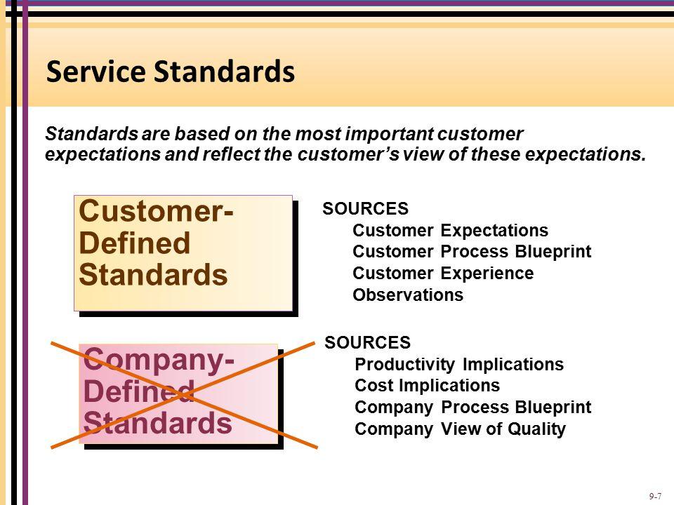 Service Standards Customer-Defined Standards Company-Defined Standards