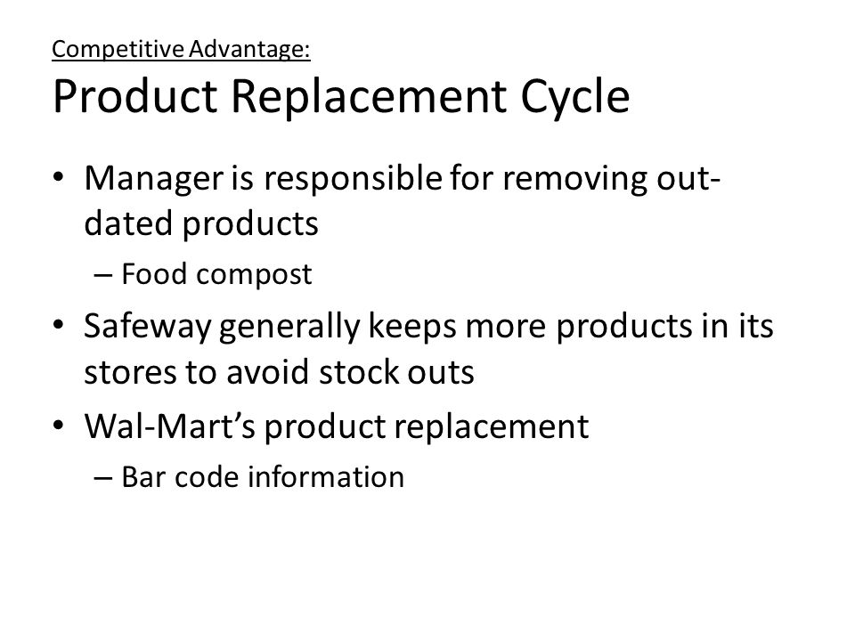 Competitive Advantage: Product Replacement Cycle