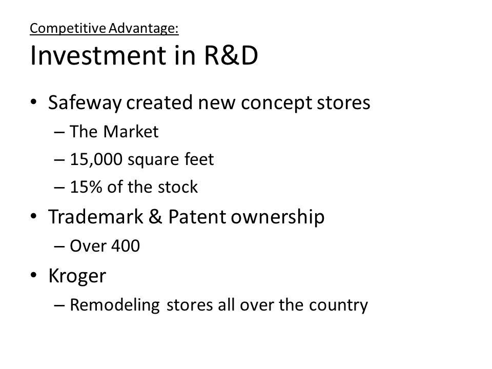 Competitive Advantage: Investment in R&D
