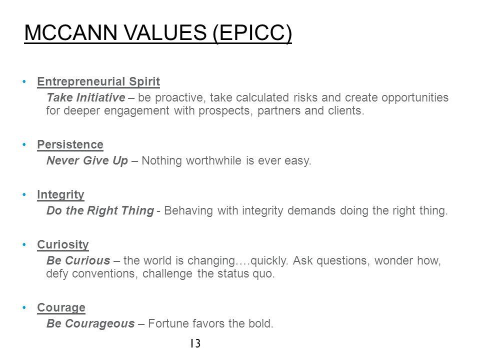 McCANN VALUES (EPICC) Entrepreneurial Spirit