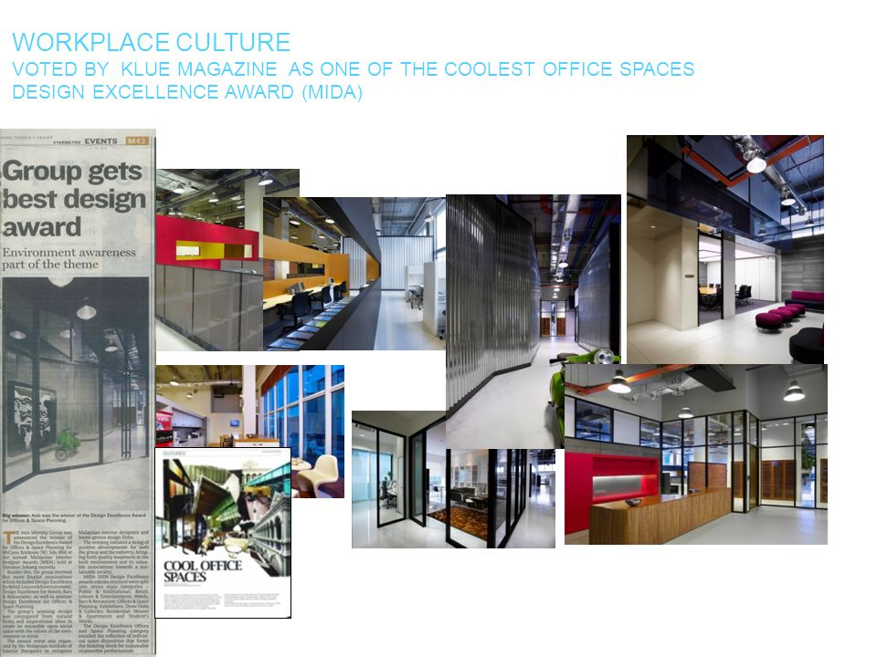 Workplace culture voted by klue magazine as one of the coolest office spaces.