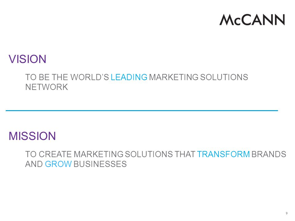 VISION MISSION TO BE THE WORLD'S LEADING MARKETING SOLUTIONS NETWORK