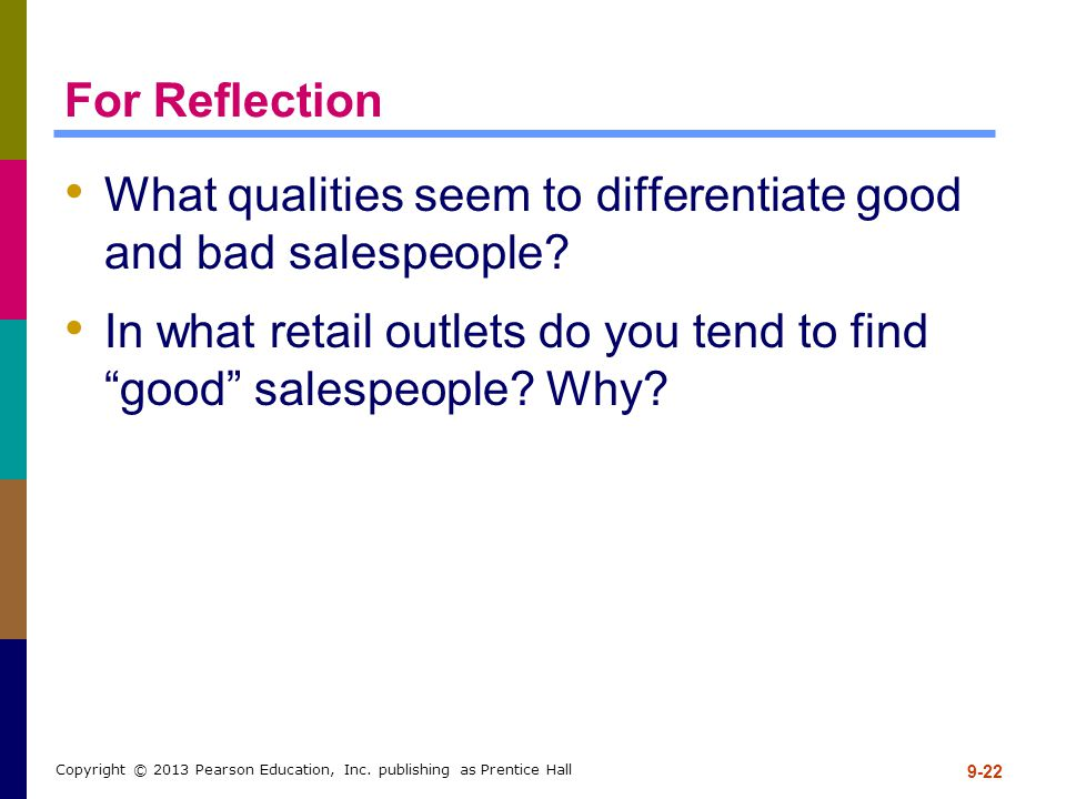 What qualities seem to differentiate good and bad salespeople