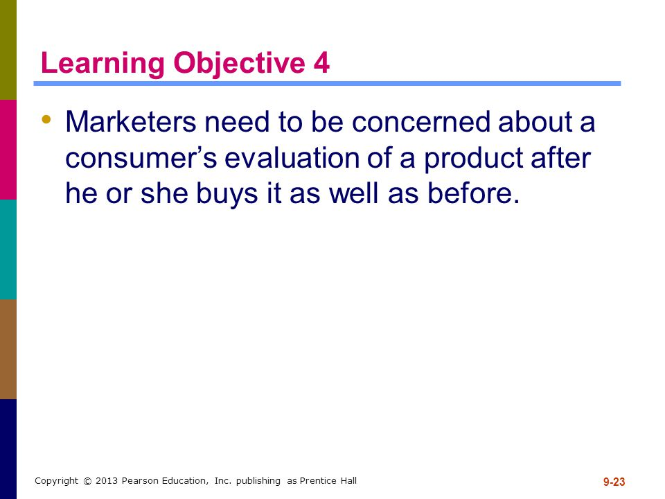 Learning Objective 4 Marketers need to be concerned about a consumer's evaluation of a product after he or she buys it as well as before.