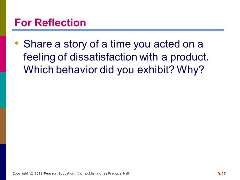For Reflection Share a story of a time you acted on a feeling of dissatisfaction with a product. Which behavior did you exhibit Why
