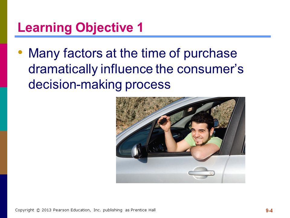 Learning Objective 1 Many factors at the time of purchase dramatically influence the consumer's decision-making process.