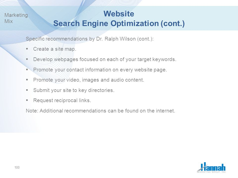 Website Search Engine Optimization (cont.)