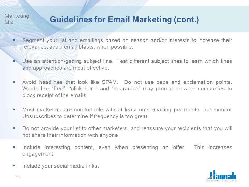 Guidelines for Email Marketing (cont.)