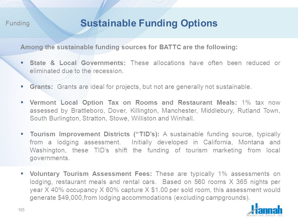 Sustainable Funding Options