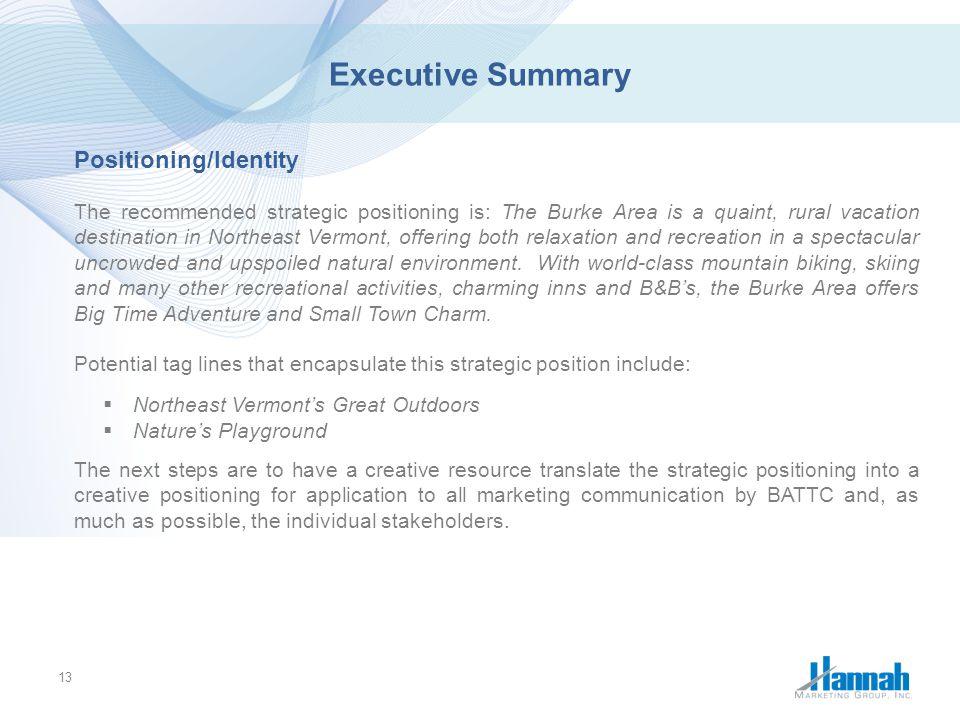 Executive Summary Positioning/Identity