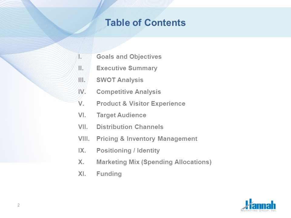 Table of Contents Goals and Objectives Executive Summary SWOT Analysis