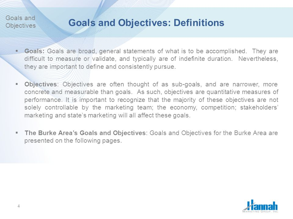 Goals and Objectives: Definitions
