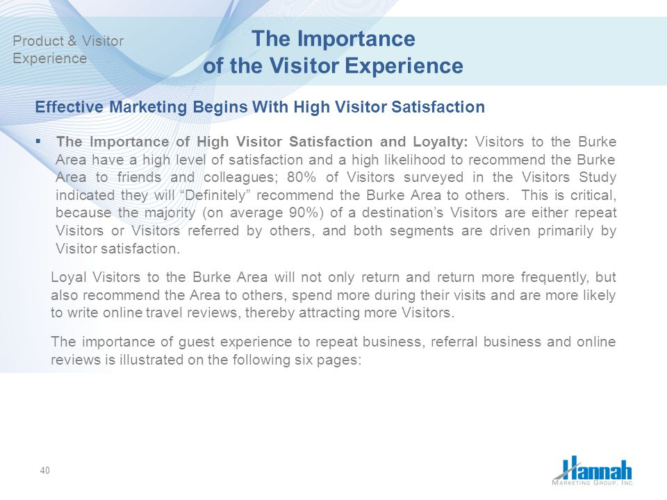 The Importance of the Visitor Experience