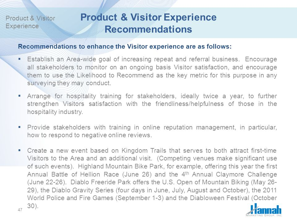 Product & Visitor Experience Recommendations
