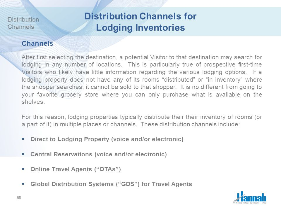 Distribution Channels for Lodging Inventories