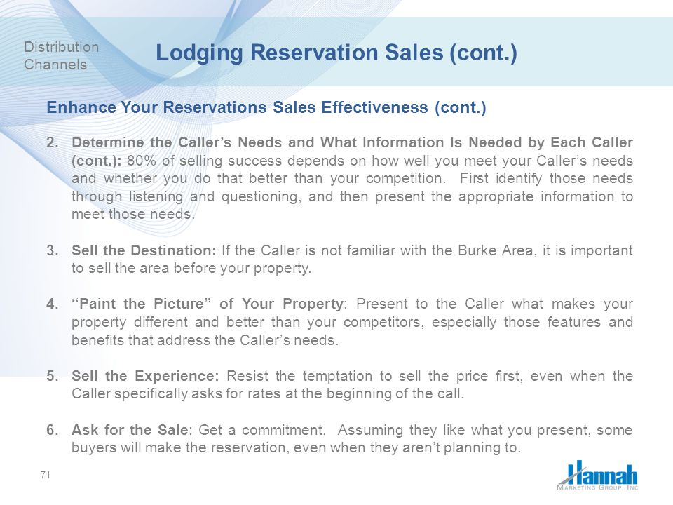 Lodging Reservation Sales (cont.)