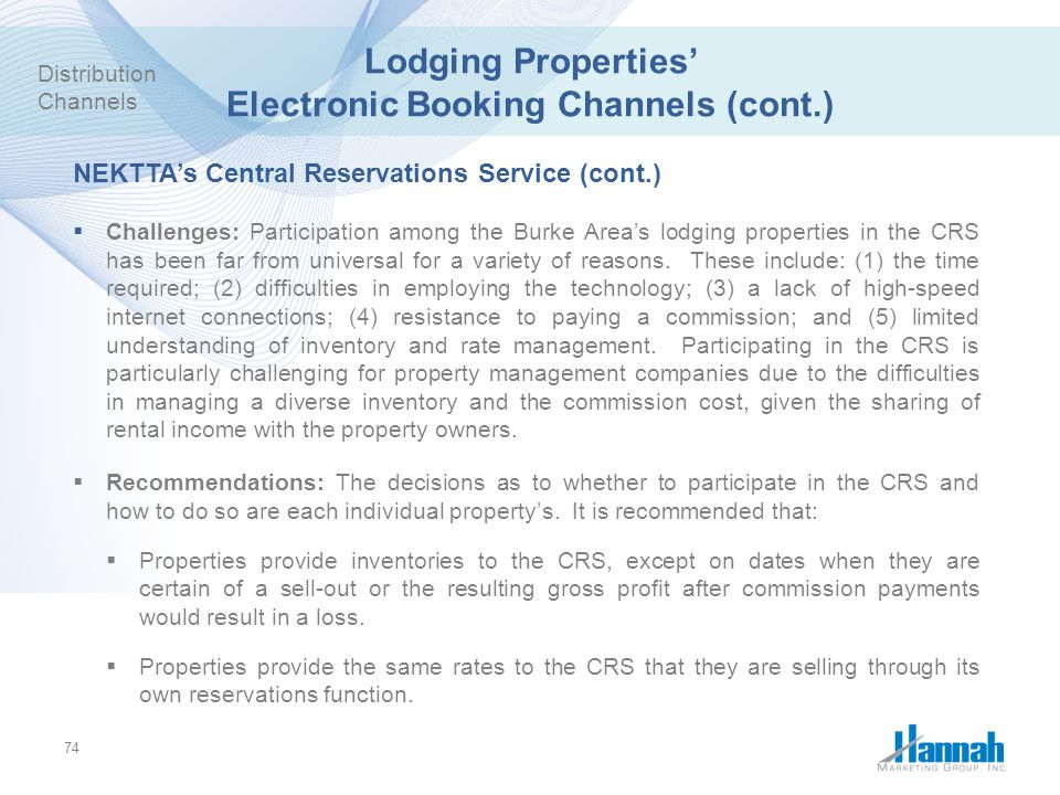 Lodging Properties' Electronic Booking Channels (cont.)