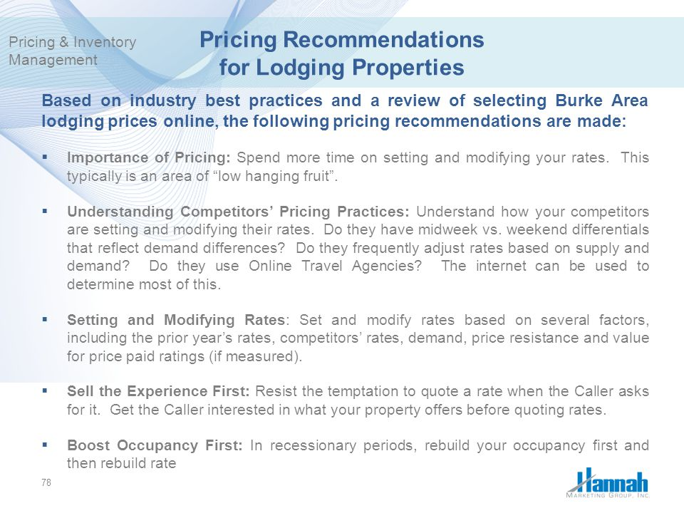 Pricing Recommendations for Lodging Properties