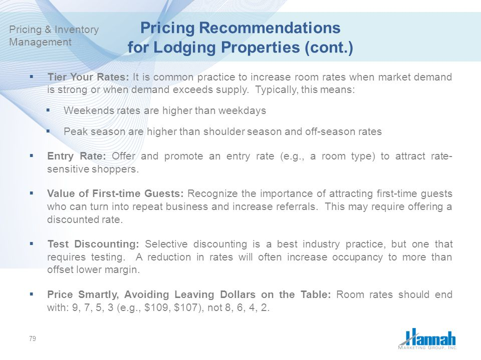 Pricing Recommendations for Lodging Properties (cont.)