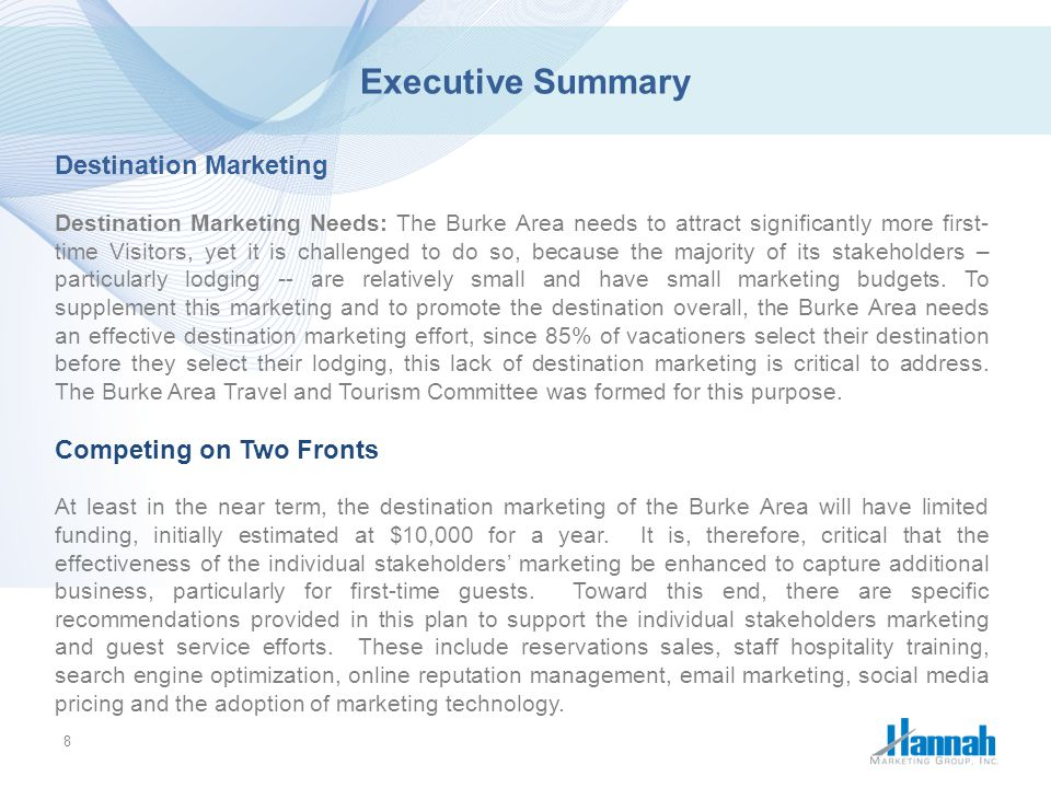 Executive Summary Destination Marketing Competing on Two Fronts