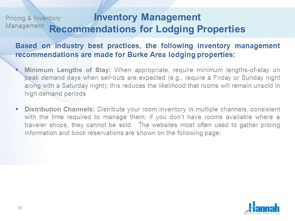 Inventory Management Recommendations for Lodging Properties