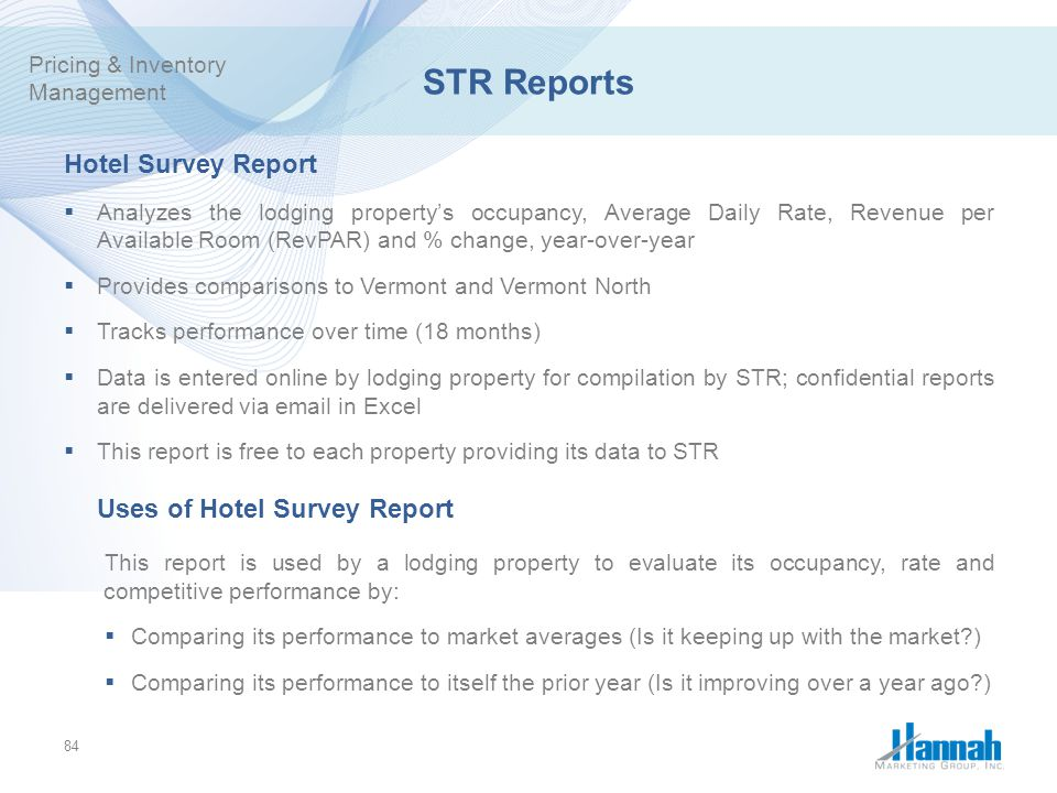 STR Reports Hotel Survey Report Uses of Hotel Survey Report