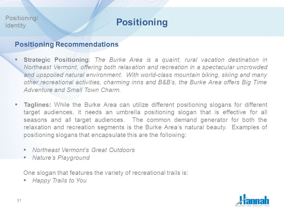 Positioning Positioning Recommendations Positioning/ Identity