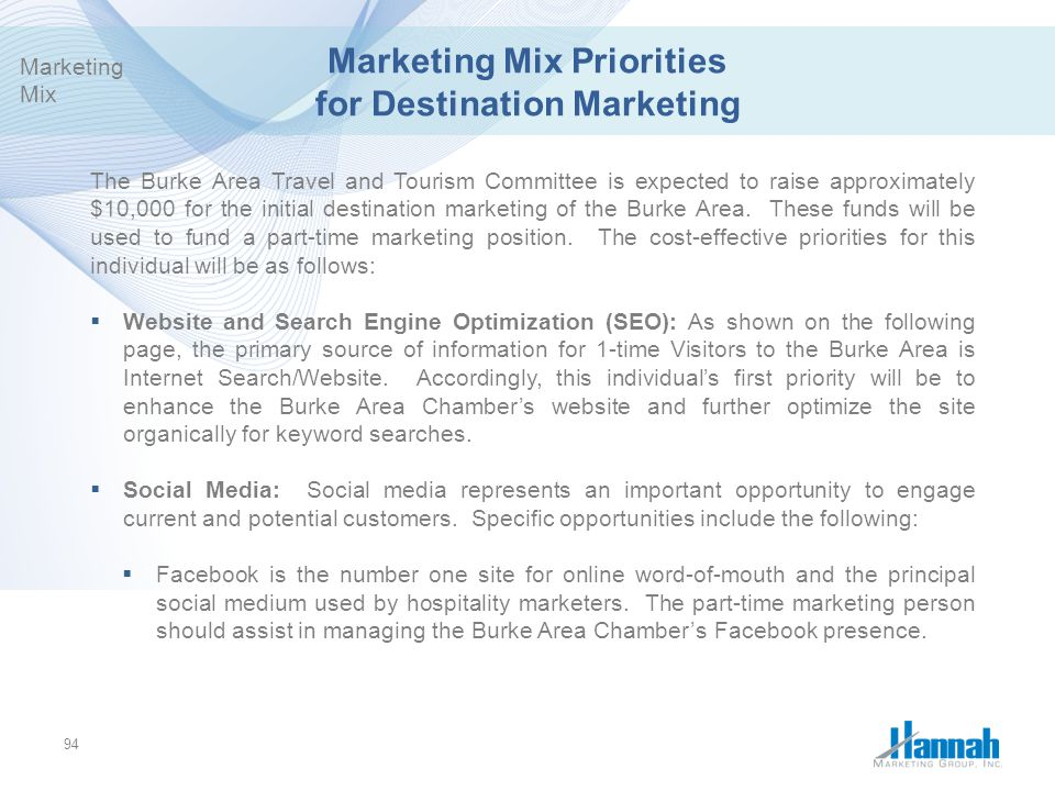 Marketing Mix Priorities for Destination Marketing