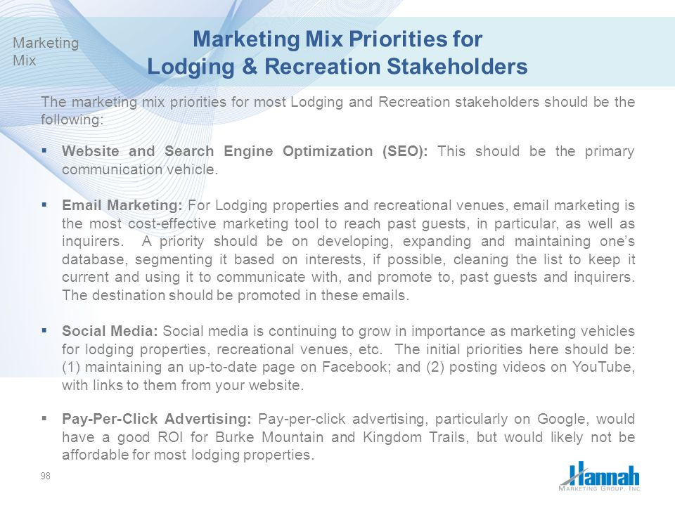 Marketing Mix Priorities for Lodging & Recreation Stakeholders