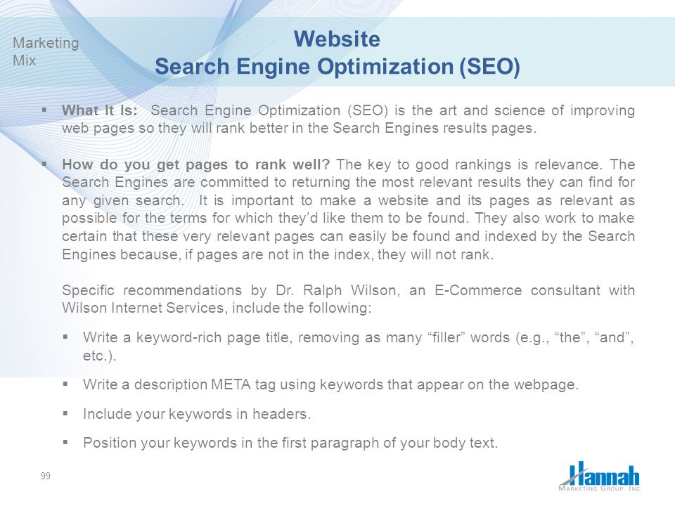 Website Search Engine Optimization (SEO)