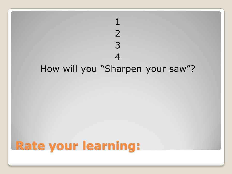 1 2 3 4 How will you Sharpen your saw