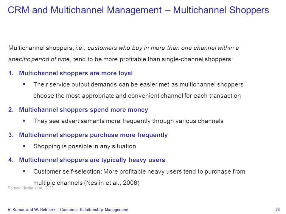 CRM and Multichannel Management – Multichannel Shoppers