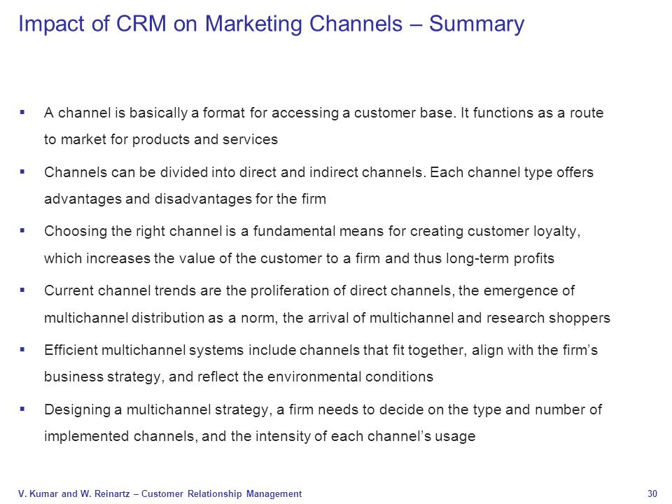 Impact of CRM on Marketing Channels – Summary