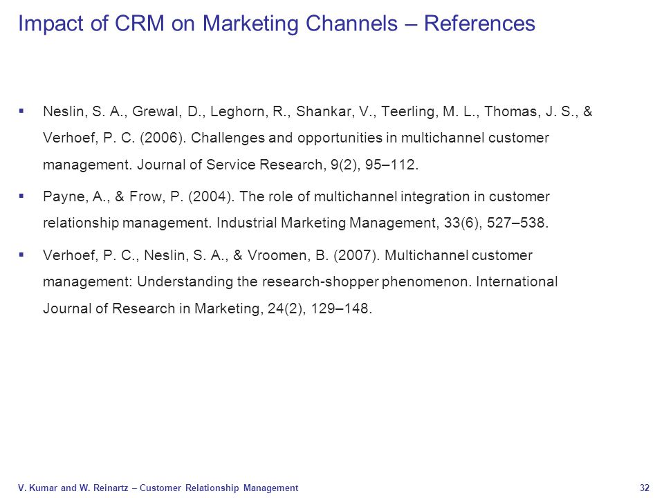 Impact of CRM on Marketing Channels – References