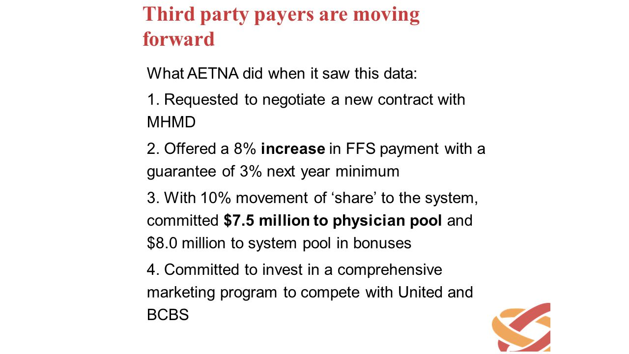 Third party payers are moving forward