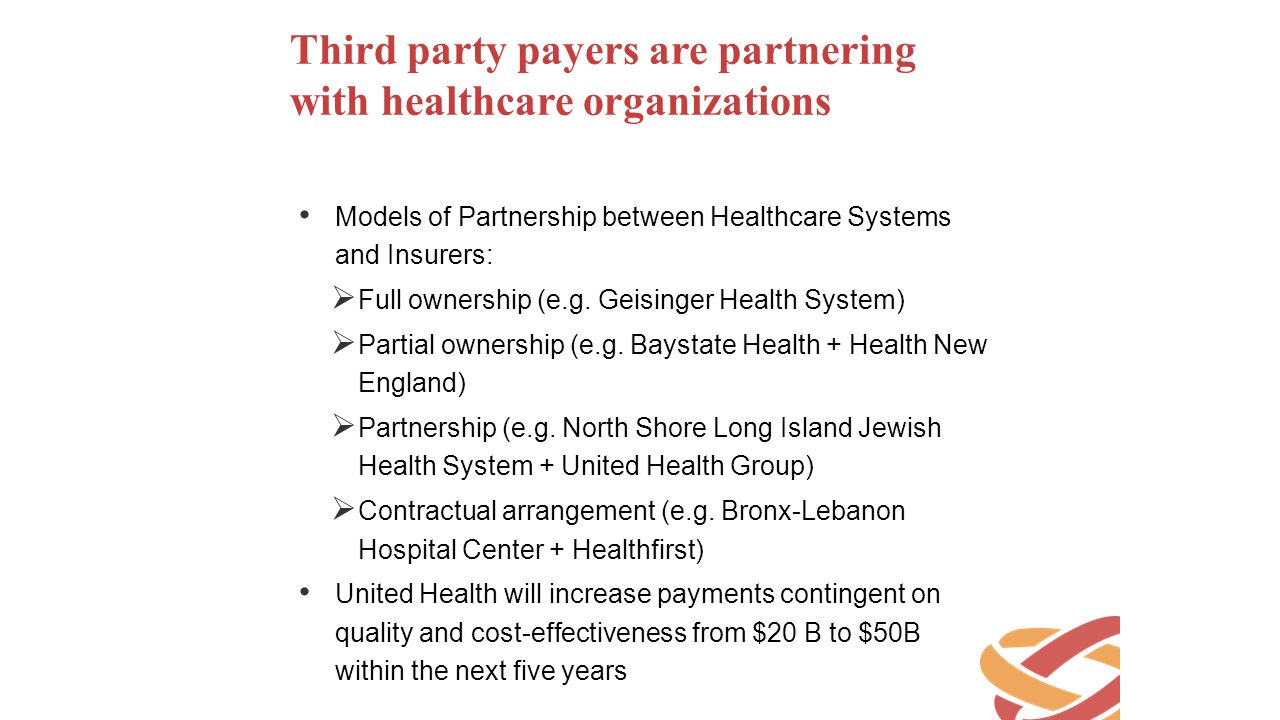 Third party payers are partnering with healthcare organizations
