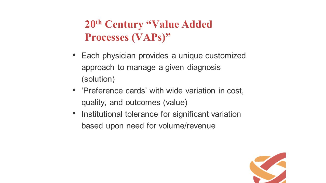 20th Century Value Added Processes (VAPs)