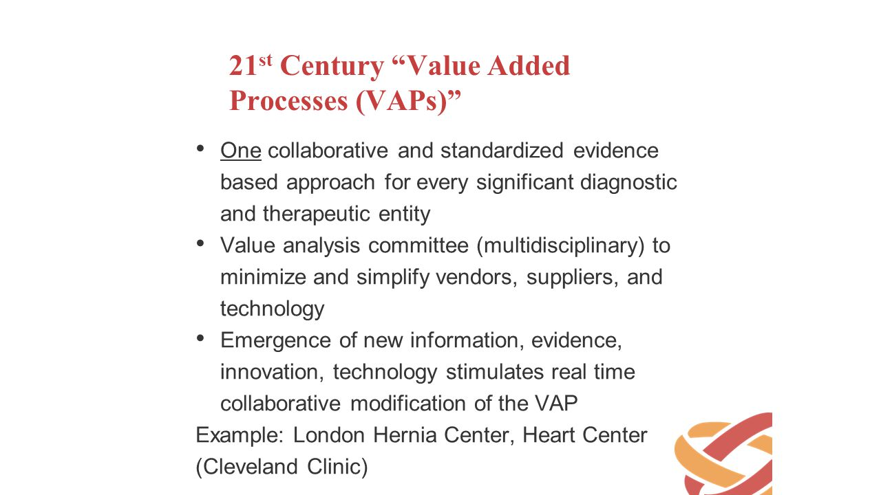 21st Century Value Added Processes (VAPs)
