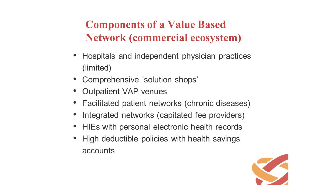Components of a Value Based Network (commercial ecosystem)