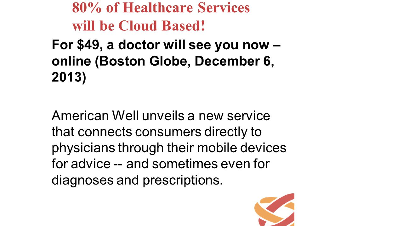 80% of Healthcare Services will be Cloud Based!