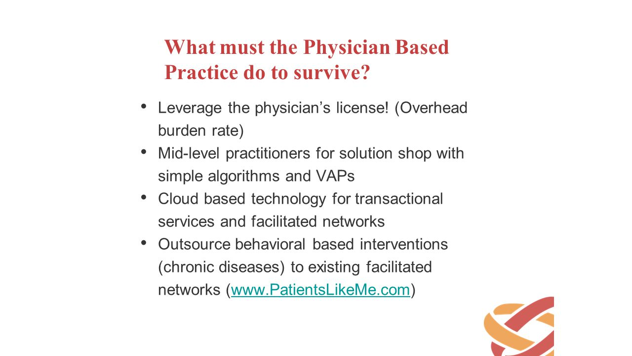 What must the Physician Based Practice do to survive
