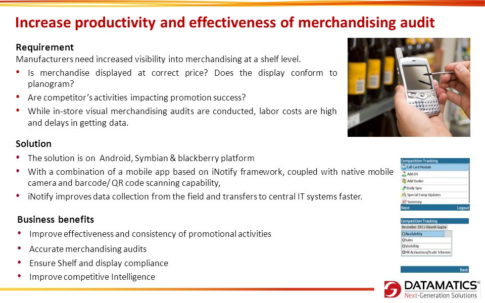 Increase productivity and effectiveness of merchandising audit