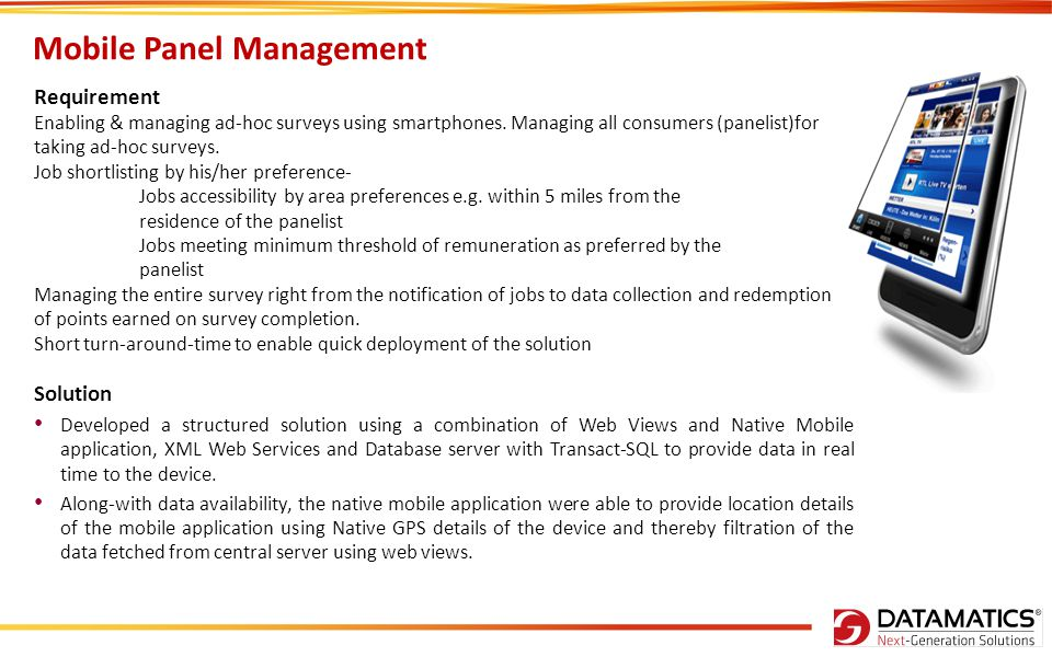 Mobile Panel Management