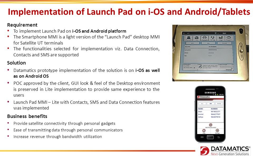 Implementation of Launch Pad on i-OS and Android/Tablets