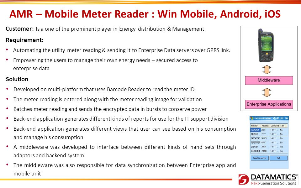 AMR – Mobile Meter Reader : Win Mobile, Android, iOS