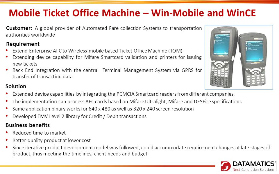 Mobile Ticket Office Machine – Win-Mobile and WinCE