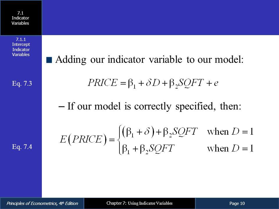 Intercept Indicator Variables