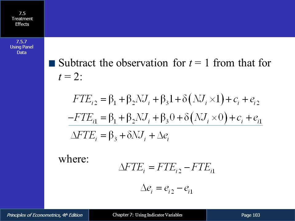 Subtract the observation for t = 1 from that for t = 2: