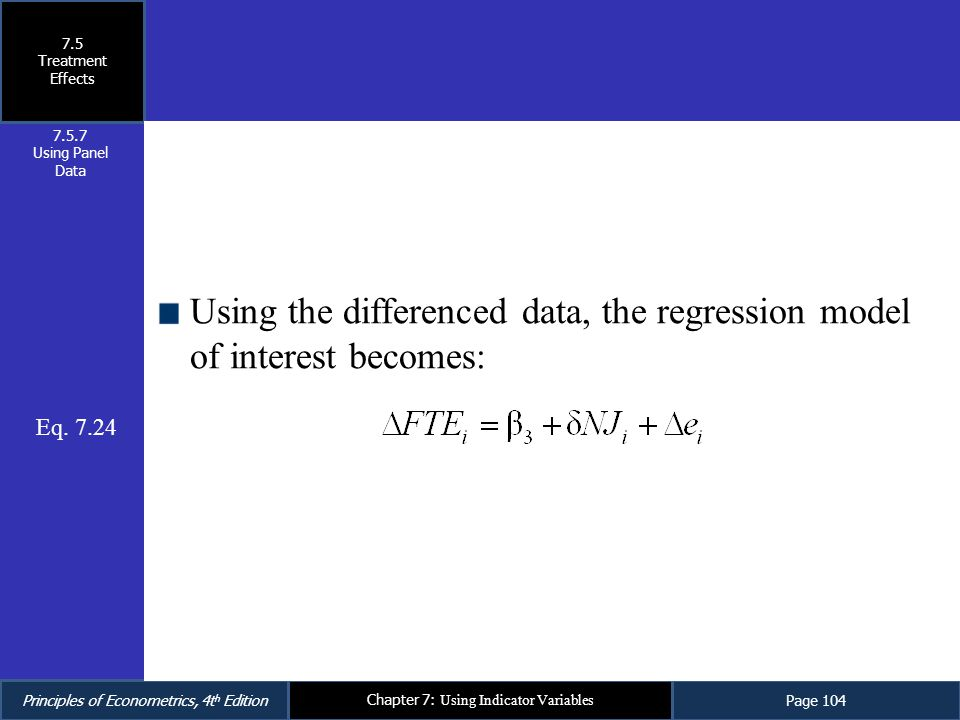 Using the differenced data, the regression model of interest becomes: