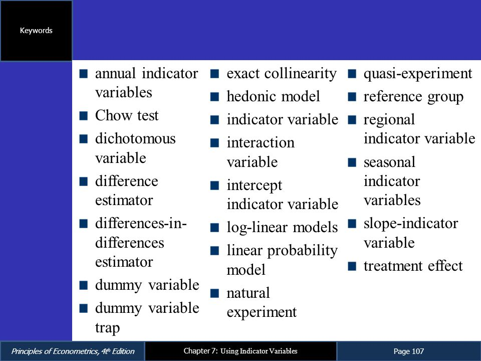 annual indicator variables Chow test dichotomous variable